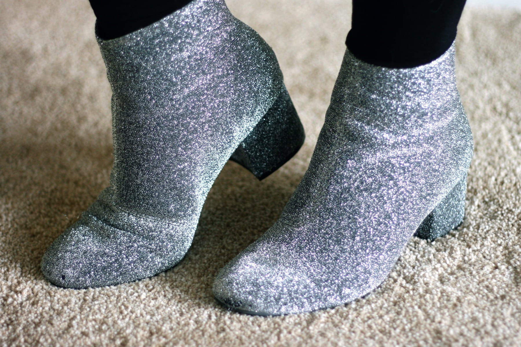 Close up of silver sparkly boots from New Look : Fashion Blog Outfit Post